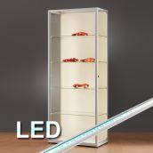 glasvitrinen mit beleuchtung alu vitrinen abschlie bar glas. Black Bedroom Furniture Sets. Home Design Ideas