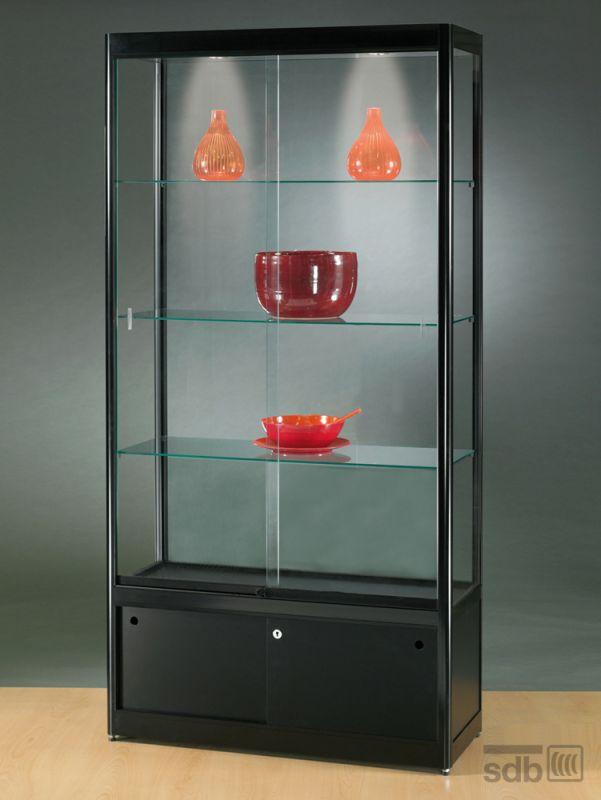 sv1000a0hu vitrine mit unterschrank alu schwarz mit beleuchtung 859. Black Bedroom Furniture Sets. Home Design Ideas