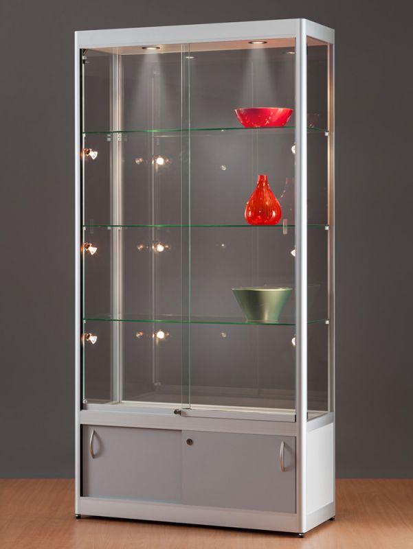 sv1000a7huph2 vitrine mit unterschrank alu silber mit beleuchtung 1. Black Bedroom Furniture Sets. Home Design Ideas