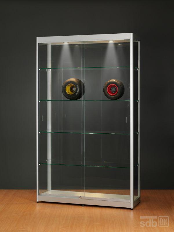 sv1200a7h vitrine alu silber mit beleuchtung abschlie bar. Black Bedroom Furniture Sets. Home Design Ideas