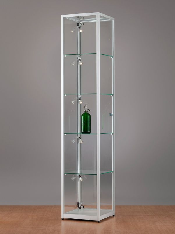 sv400a7pl1 vitrine alu silber mit led beleuchtung abschlie bar. Black Bedroom Furniture Sets. Home Design Ideas