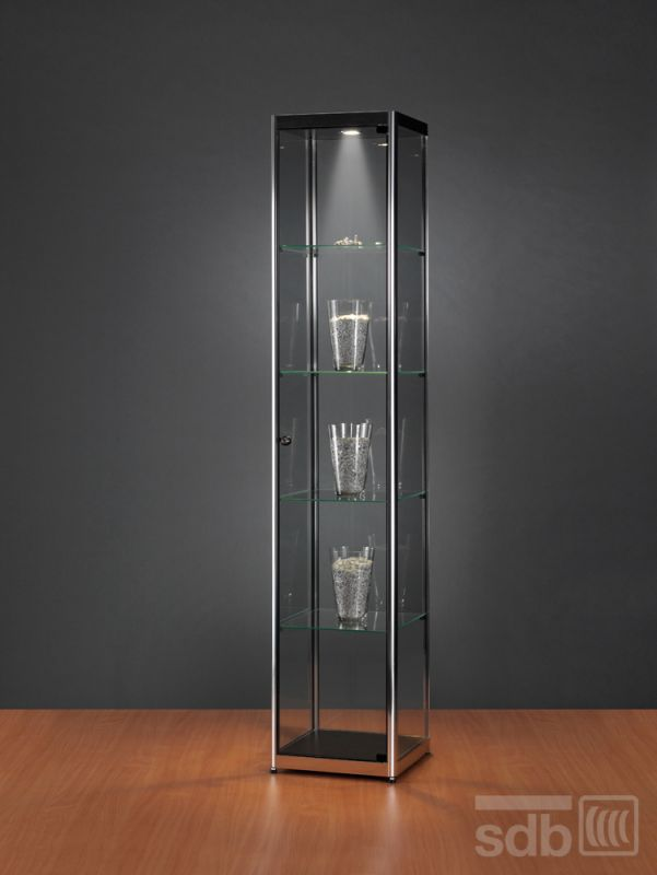 sv400c0h vitrine chrom mit beleuchtung abschlie bar 939. Black Bedroom Furniture Sets. Home Design Ideas