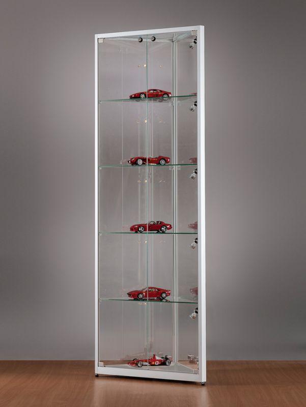 sv500a7epl1 eck vitrine silber mit led beleuchtung abschlie bar. Black Bedroom Furniture Sets. Home Design Ideas