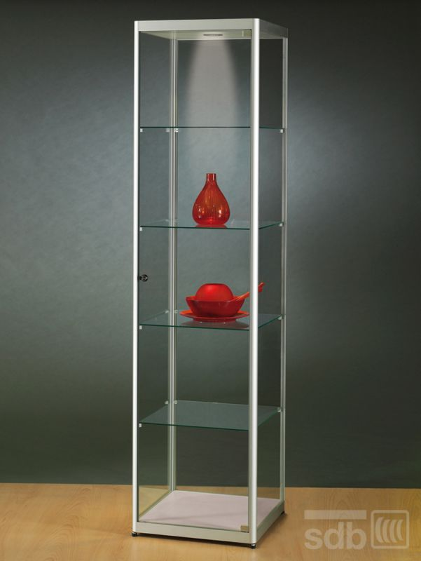 sv500a7l vitrine alu silber mit led beleuchtung abschlie bar 4. Black Bedroom Furniture Sets. Home Design Ideas