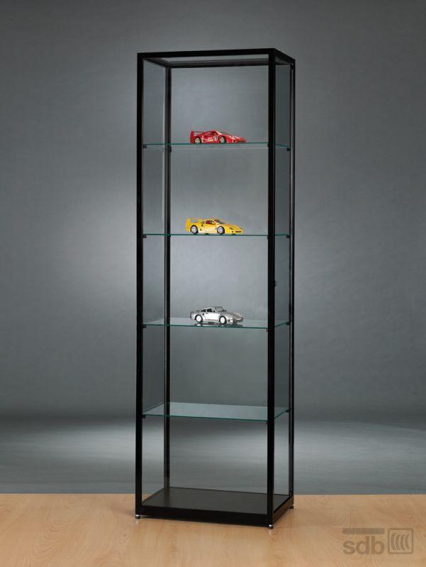sv600a0 vitrine aus glas und alu schwarz abschlie bar 429. Black Bedroom Furniture Sets. Home Design Ideas