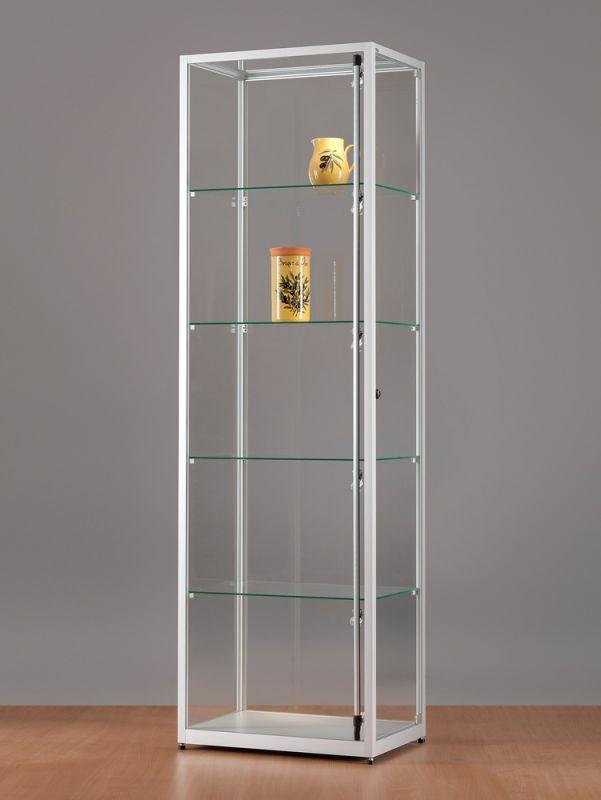 sv600a7pl1 vitrine alu silber mit led beleuchtung abschlie bar. Black Bedroom Furniture Sets. Home Design Ideas
