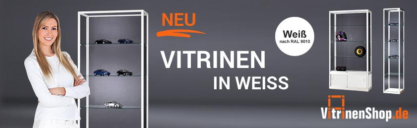 Weiße Vitrinen auf Vitrinenshop.de