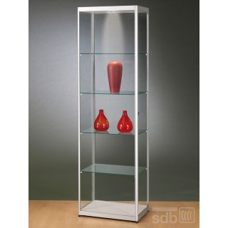 SV600A7L Glasvitrine Vitrine grau Ausstellungsvitrine Präsentationsvitrine Alu Silber mit Beleuchtung abschließbar