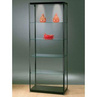 SV800A0L Glasvitrine Ausstellungsvitrine Vitrine Schwarz mit Beleuchtung abschließbar