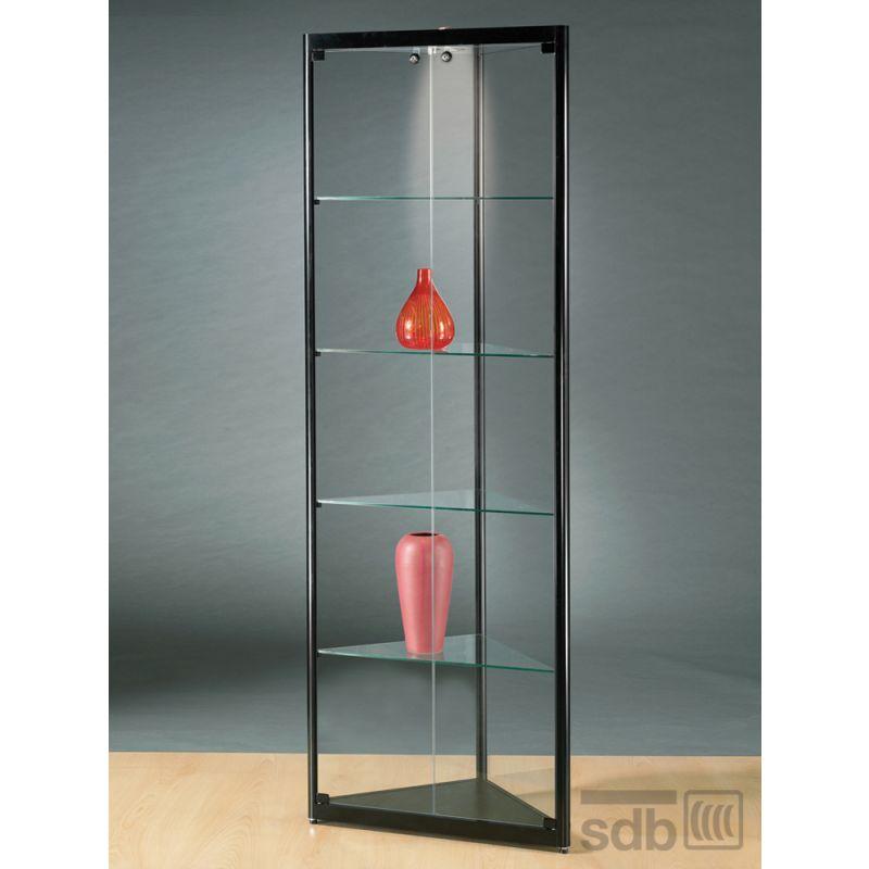eckvitrine schwarz g nstig online kaufen glasvitrinen alu vitrinen g nstig. Black Bedroom Furniture Sets. Home Design Ideas