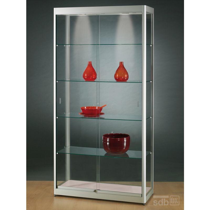 standvitrine glasvitrine spiegel beleuchtung vitrine silber alu mit spiegel smash. Black Bedroom Furniture Sets. Home Design Ideas