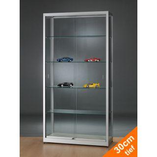 SV10030A7 Vitrine Glasvitrine Modellautos und Figuren abschließbar Alu Silber