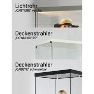 CM-2000 Vitrine für Puppe Schaufenster Modellvitrine quadratisch 2m hoch aus ESG Sicherheitsglas mit abschließbarer Glasdrehtür