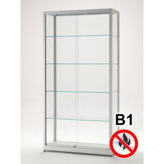 SV1200A7B1 Brandschutz Vitrine abschließbar Glas Alu Silber