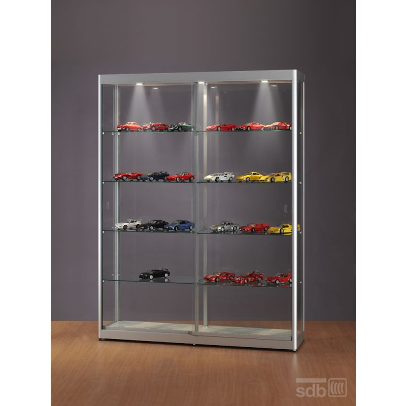 breite vitrine 150 cm mit beleuchtung glasvitrinen alu vitrinen g nstig. Black Bedroom Furniture Sets. Home Design Ideas