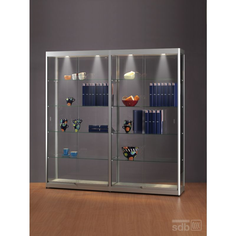 gro e vitrine mit beleuchtung 200 cm breit glasvitrinen alu vitrinen g nstig. Black Bedroom Furniture Sets. Home Design Ideas