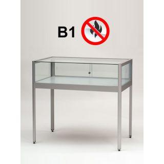 ST1500A7FB1 Brandschutz Tischvitrine abschließbar Glas Alu Silber