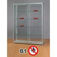 SV1500A7B1 Brandschutz Vitrine abschließbar Glas Alu Silber