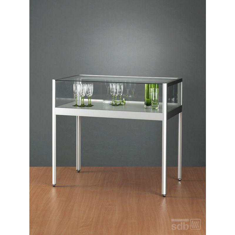 gro e tischvitrine 150 cm breit zur ausstellung glasvitrinen alu vitrinen g nstig. Black Bedroom Furniture Sets. Home Design Ideas