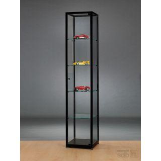 SV400A0 Vitrine schwarz Glasvitrine Ausstellungsvitrine Präsentationsvitrine abschließbar Alu