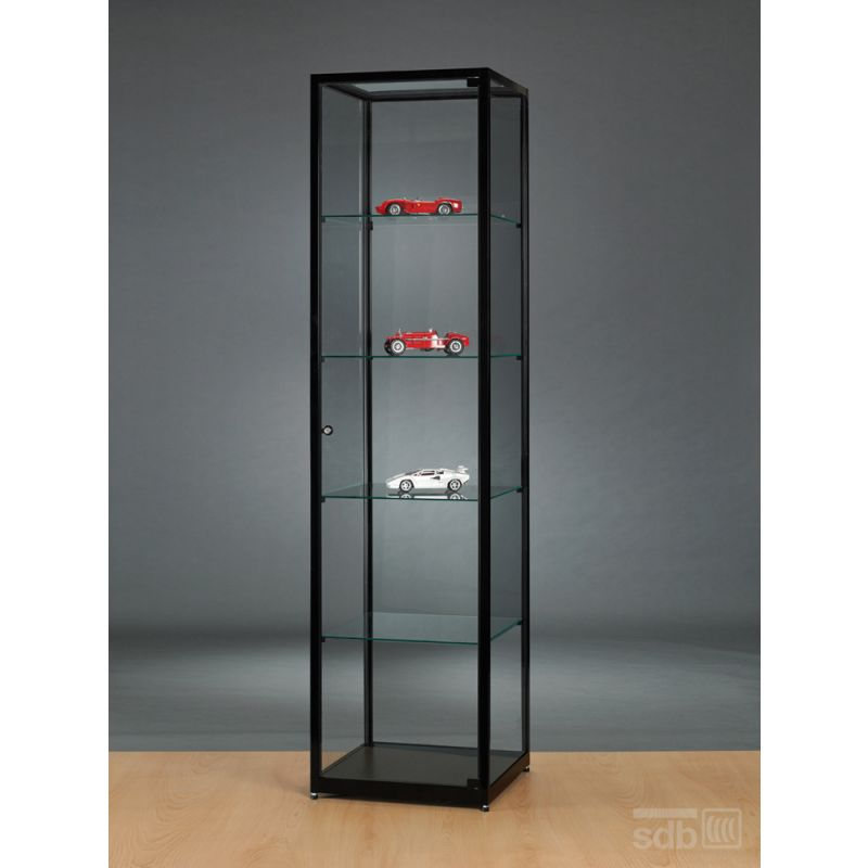glasvitrine schwarz abschlie bar 50 cm breit glasvitrinen alu vitrinen g nstig. Black Bedroom Furniture Sets. Home Design Ideas