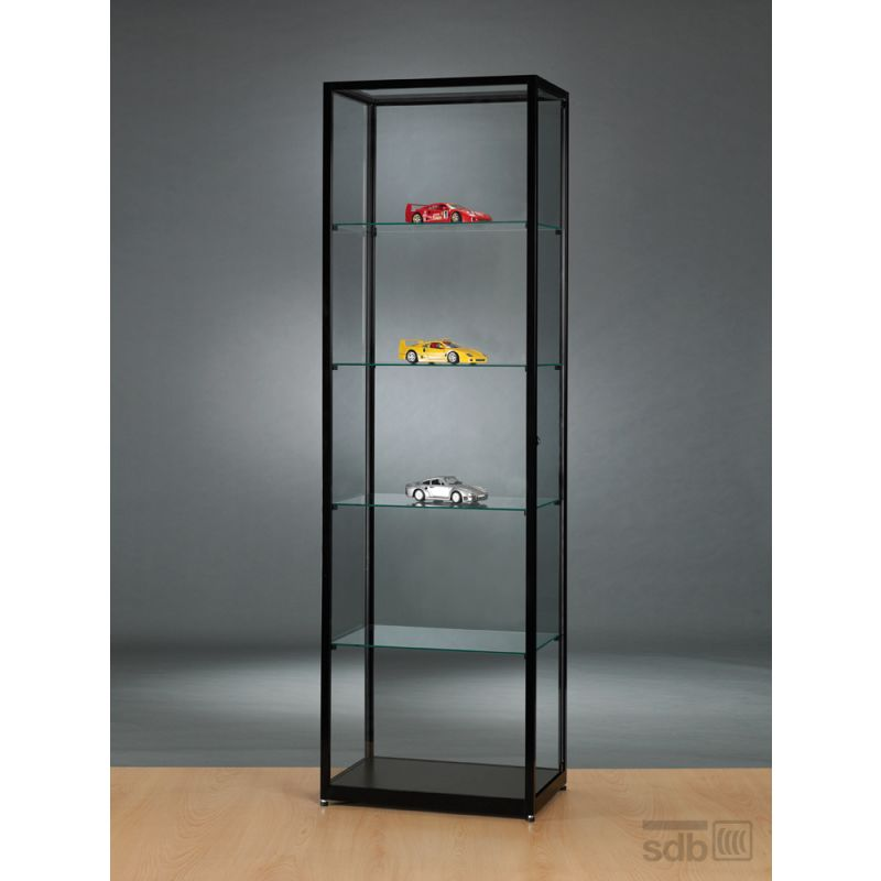 alu vitrine schwarz abschlie bar 60 cm glasvitrinen alu vitrinen g nstig. Black Bedroom Furniture Sets. Home Design Ideas