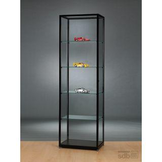 SV600A0 Vitrine schwarz Glasvitrine Ausstellungsvitrine Präsentationsvitrine abschließbar Alu