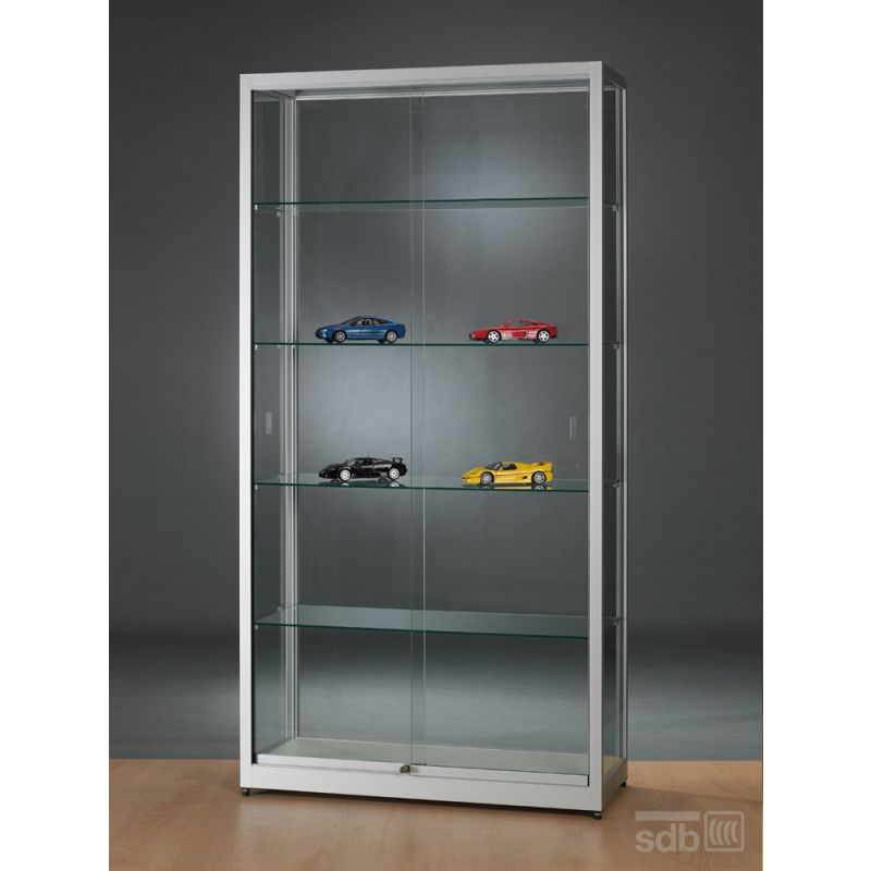 standvitrine glas 100 cm breit abschlie bar glasvitrinen alu vitrinen g nstig. Black Bedroom Furniture Sets. Home Design Ideas