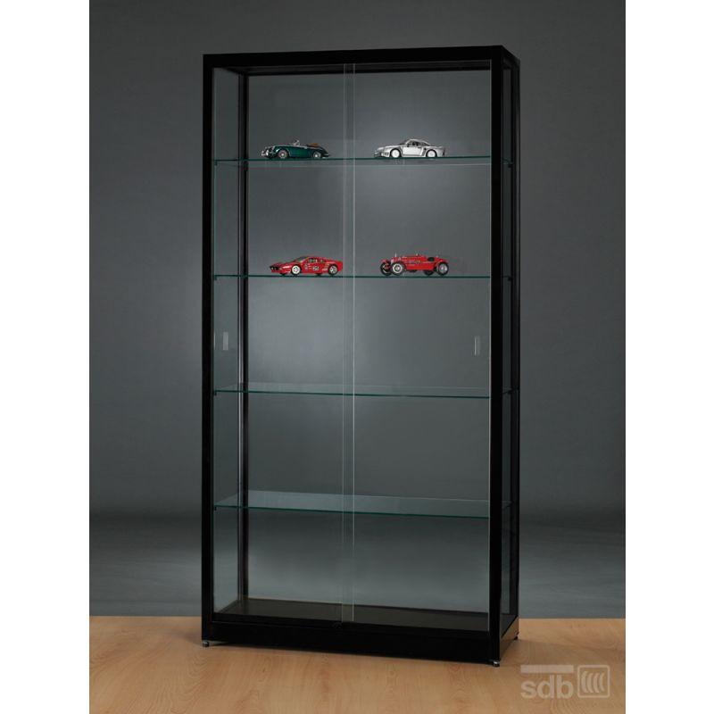 standvitrine schwarz abschlie bar 100 cm glasvitrinen alu vitrinen g nstig. Black Bedroom Furniture Sets. Home Design Ideas