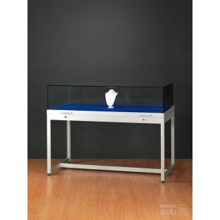 SH1200A7K250 Haubenvitrine Präsentationstisch Tischvitrine Ausstellungsvitrine Haubentisch aus Glas und Alu Silber mit 250mm Haubenhöhe