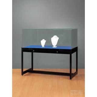 SH1000A0K450 Haubenvitrine Präsentationstisch Tischvitrine Ausstellungsvitrine Haubentisch aus Glas und Alu Schwarz mit 450mm Haubenhöhe