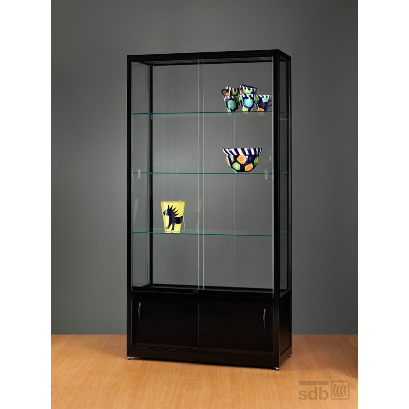 vitrinenschrank schwarz vitrine mit unterschrank glasvitrinen alu vitrinen g nstig. Black Bedroom Furniture Sets. Home Design Ideas