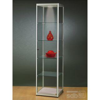 SV500A7L Glasvitrine Vitrine grau Ausstellungsvitrine Präsentationsvitrine Alu Silber mit Beleuchtung abschließbar