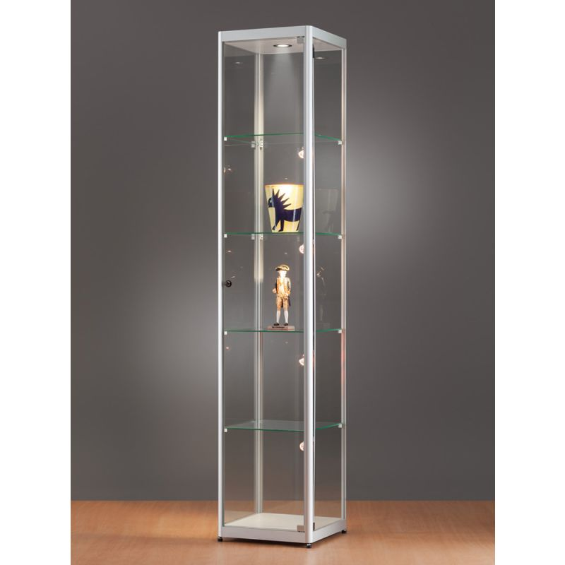 beleuchtete vitrine quadratisch 40 cm glasvitrinen alu vitrinen g nstig. Black Bedroom Furniture Sets. Home Design Ideas