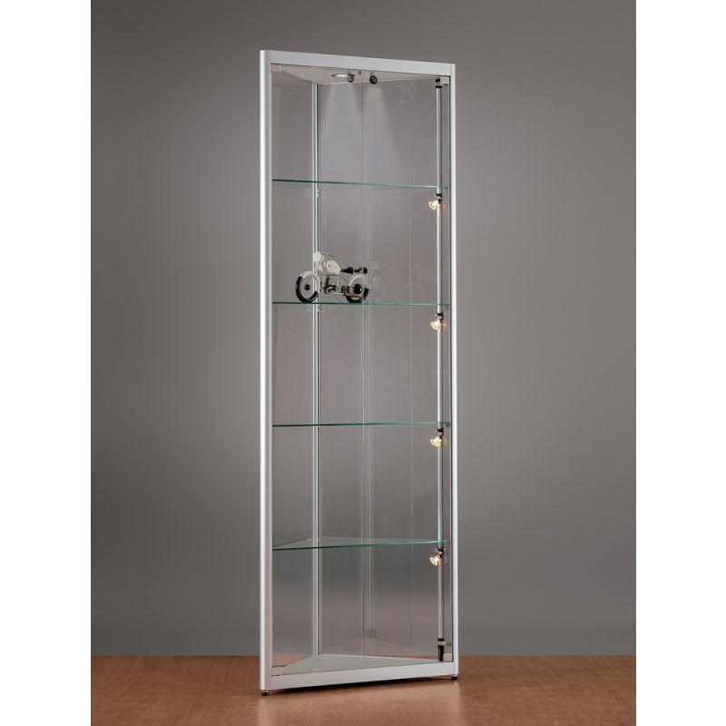 eckvitrine mit beleuchtung dreieckvitrine glasvitrinen alu vitrinen g nstig. Black Bedroom Furniture Sets. Home Design Ideas