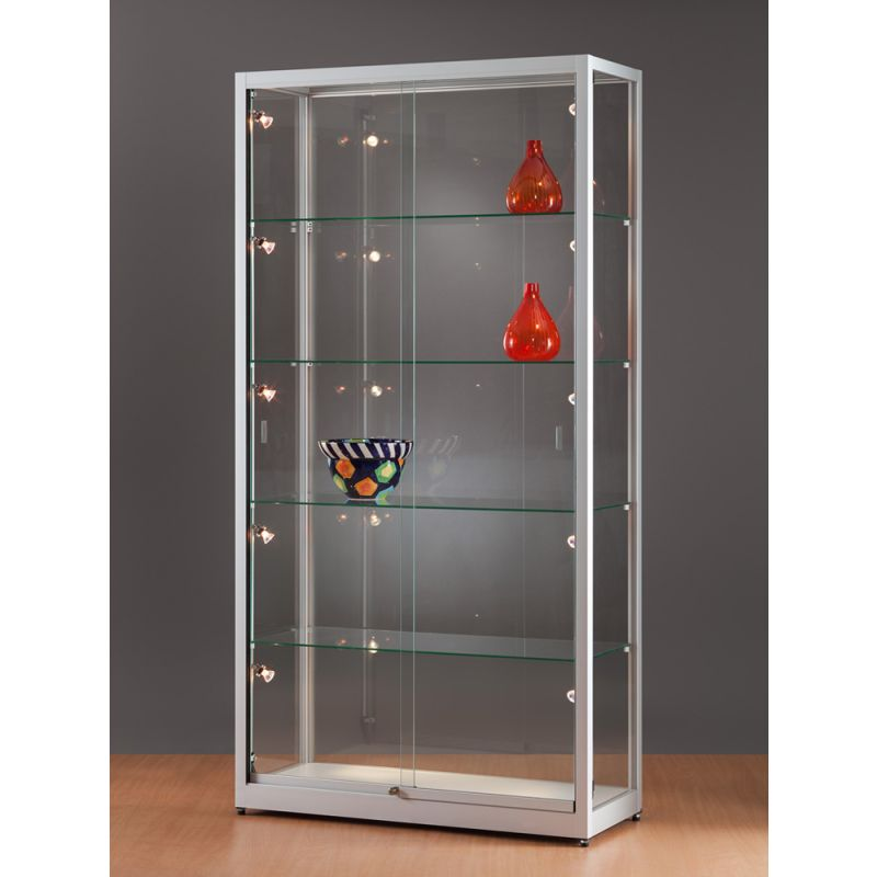 vitrine beleuchtet 100 cm breit glas vitrine glasvitrinen alu vitrinen g nstig. Black Bedroom Furniture Sets. Home Design Ideas