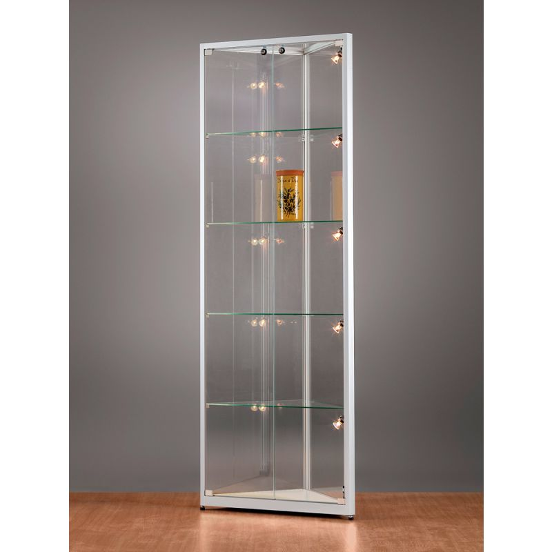 sv500a7eph1 eck vitrine alu silber mit beleuchtung abschlie bar. Black Bedroom Furniture Sets. Home Design Ideas