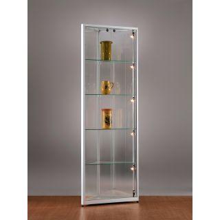 sv500a7eph1 eck vitrine alu silber mit beleuchtung abschlie bar. Black Bedroom Furniture Sets. Home Design Ideas