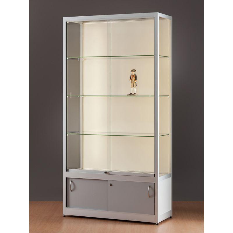 glas vitrinenschrank mit led strips glasvitrinen alu vitrinen g nstig. Black Bedroom Furniture Sets. Home Design Ideas