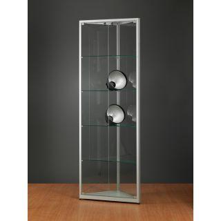 SV500A7E Eckvitrine grau Glasvitrine Ausstellungsvitrine Präsentationsvitrine abschließbar Alu Silber