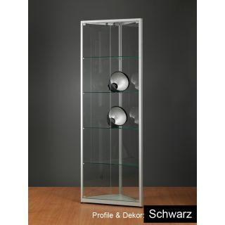 SV500A0E EckVitrine schwarz Glasvitrine Ausstellungsvitrine Präsentationsvitrine abschließbar Alu