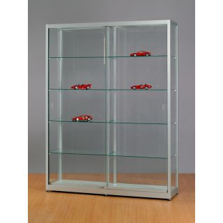 SV1500A7 Vitrine grau Glasvitrine Ausstellungsvitrine Präsentationsvitrine abschließbar Alu Silber