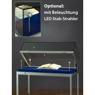 SH1500A7K250U Haubenvitrine Präsentationstisch Tischvitrine Ausstellungsvitrine aus Glas und Alu Silber mit 250mm Haubenhöhe mit Unterschrank