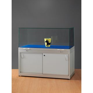 SH1500A7K450U Haubenvitrine Präsentationstisch Tischvitrine Ausstellungsvitrine aus Glas und Alu Silber mit 450mm Haubenhöhe mit Unterbau Sockelvitrine oder mit Unterschrank
