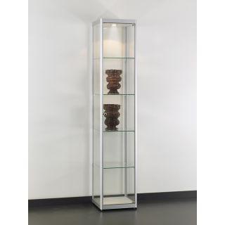 VIA-T400A7H Glasvitrine Klassische Vitrine aus Glas und Alu Silber mit Beleuchtung
