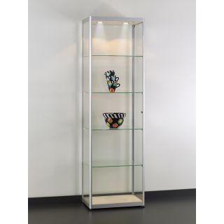 VIA-T600A7H Glasvitrine Klassische Vitrine aus Glas und Alu Silber mit Beleuchtung