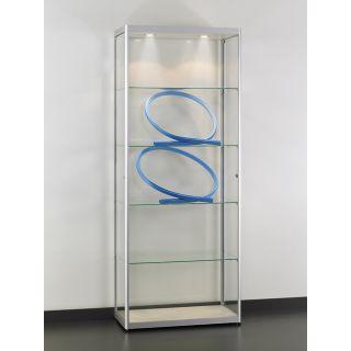 VIA-T800A7H Glasvitrine Klassische Vitrine aus Glas und Alu Silber mit Beleuchtung