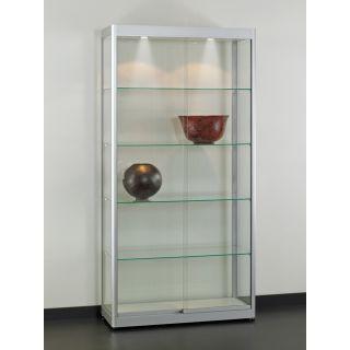 VIA-MAX1000A7H Glasvitrine Klassische Vitrine aus Glas und Alu Silber mit Beleuchtung