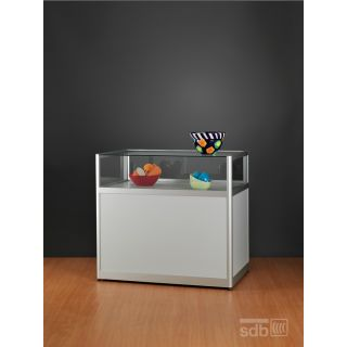 ST1500A7U Tischvitrine Glasvitrine mit Unterschrank Alu Silber abschließbar