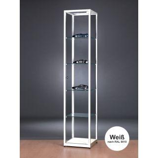 SV500A9 Kleine Vitrine Weiß abschließbar Ausstellungsvitrine Präsentationsvitrine aus Glas und Alu